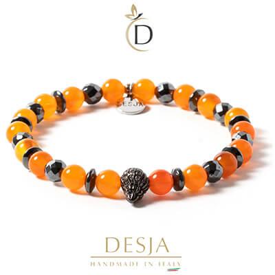 Bracciale unisex pietra Agata arancione ed Ematite | Petit Orange