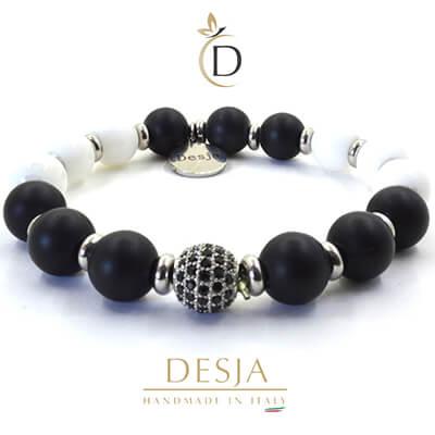 Bracciale elastico pietre Onice nero Giada bianca | Cecile