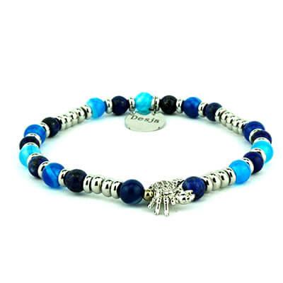 Braccialetto unisex pietre agata blu e lapislazzuli | Elia