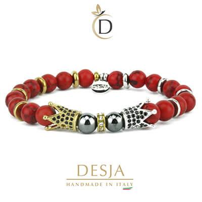 Bracciale corone pietre turchese rosso ed ematite | Romuald red