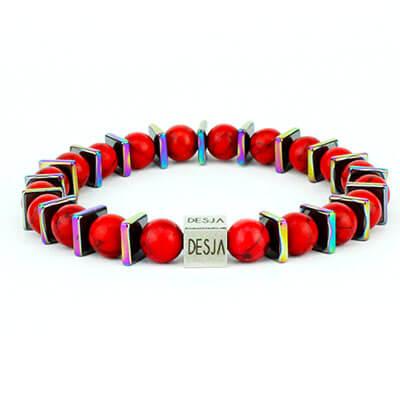 Braccialetto pietre dure turchese rosso ematite