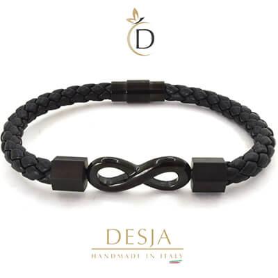 Braccialetto unisex cuoio intrecciato infinito acciaio | Infinity Black