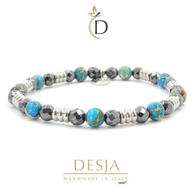 Braccialetto pietra naturale Ematite Diaspro azzurro | Hiram