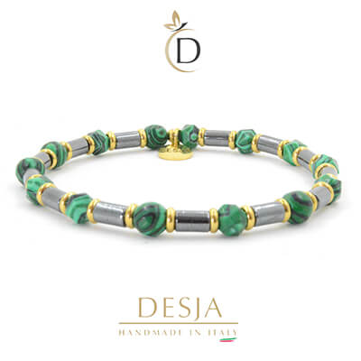 Bracciale unisex pietra ematite e malachite verde | Joyce