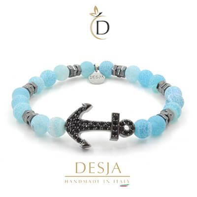Bracciale ancora pietra Agata muschiata azzurra | Doga