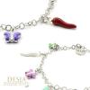 Bracciale in argento 925 con ciondoli portafortuna | Butterflies