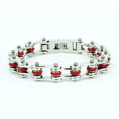 Braccialetto catena moto unisex acciaio e rosso | Cristal red