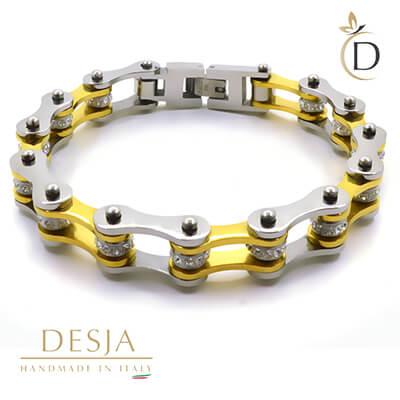 Bracciale unisex acciaio e cristalli catena moto | Gold Silver