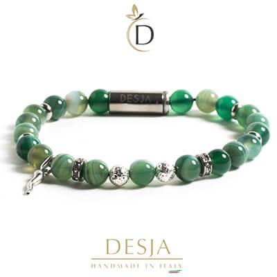Bracciale pietra naturale Agata verde chiusa magnetica | Nyota Green