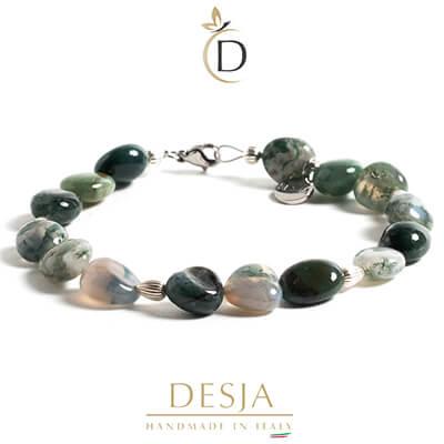 Bracciale pietre naturali Agata verde e argento 925 | Phoebe