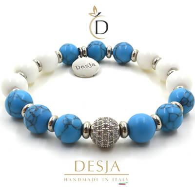 Bracciale pietra Turchese Azzurro e Giada Bianca | Megan