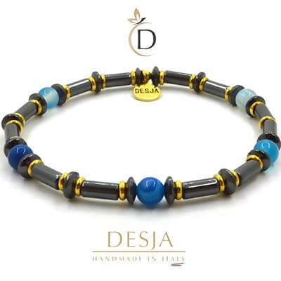 Bracciale Unisex pietra Ematite e Agata Blu | Star Light