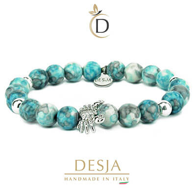 Bracciale unisex pietra naturale agata colorata azzurra | Monkey