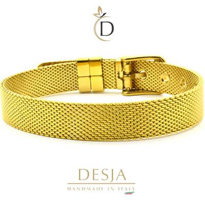 Bracciale maglia Milano in acciaio color oro | Ajsed gold