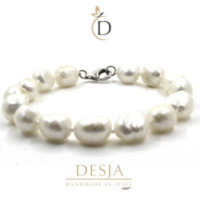 Bracciale di perle barocche 10mm con argento 925 | Pearl Baroque