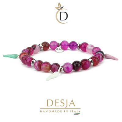 Bracciale portafortuna agata viola corni colorati | Shanti