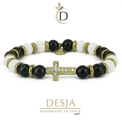 Bracciale croce con onice nero e giada bianca | Joseph