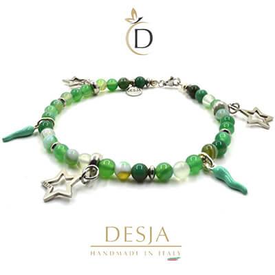 Cavigliera Agata Verde corni colorati argento 925 | Serena