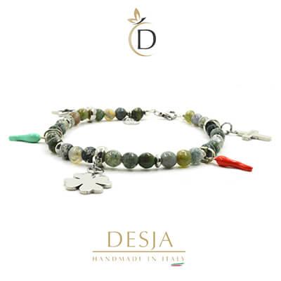 Cavigliera pietre Agata indiana corni argento 925 | Demetra