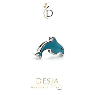 Charme per bracciale Ajsed - Delfino colorato color argento