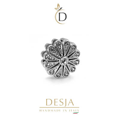 Charm per bracciale Ajsed - Fiore luminoso color argento
