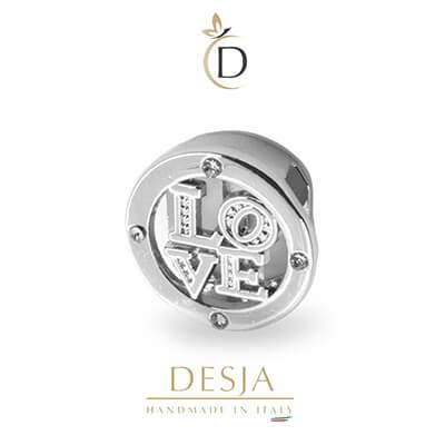 Charme per bracciale Ajsed - Cerchio LOVE color argento