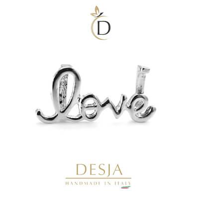 Charm per bracciale Ajsed - Love scritta color argento