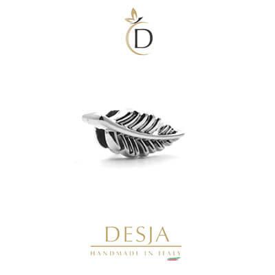 Charme per bracciale Ajsed - Fogliolina stilizzata color argento