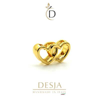 Charme per bracciale Ajsed - Cuoricini intrecciati color oro