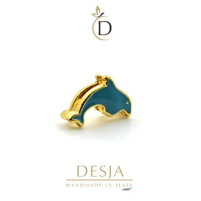Charm per bracciale Ajsed - Delfino colorato color Oro