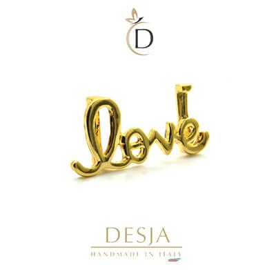 Charme per bracciale Ajsed - Love scritta color oro