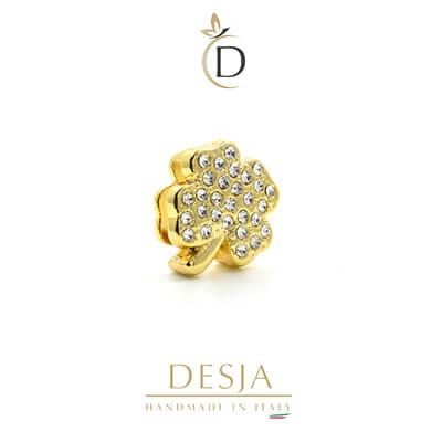 Charme per bracciale Ajsed - Quadrifoglio portafortuna color oro