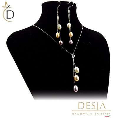 Collana donna perle colorate in Argento 925 | Pearl color