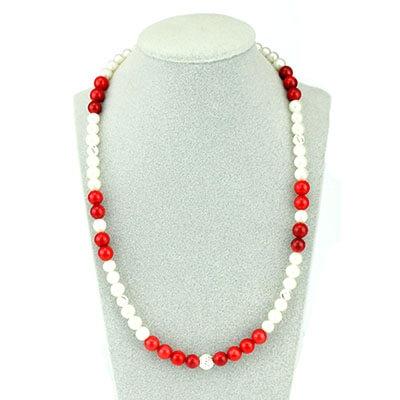 collana corallo rosso e perla con sfera argento 925