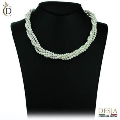Collana 4 fili perle 4-5mm con argento 925 | Pearl Heart