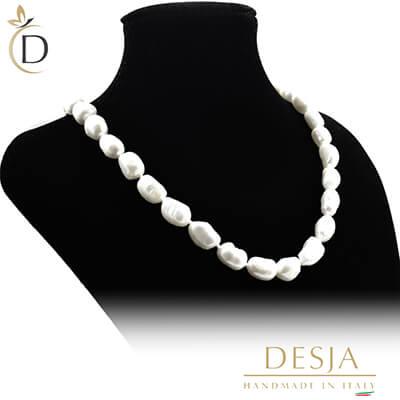 Collana di perle barocche 10mm con argento 925 | Pearl Baroque