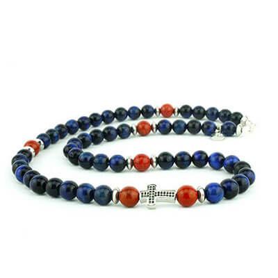 Collana rosario pietre dure naturali con croce centrale | Joshua