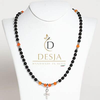 Rosario collana pietra naturale Onice nero Agata arancione | Gwyn