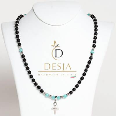 Collana rosario pietra naturale Onice nero e Amazzonite | Emyr