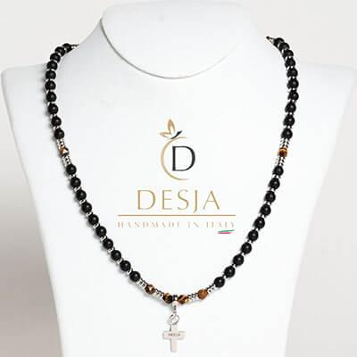 Collana rosario pietra Onice nero Occhio di tigre | Fergus