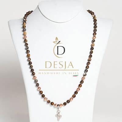 Collana rosario pietra dura Opale e Lava vulcanica | Lennox