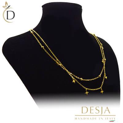 Collana donna doppio giro color oro in acciaio | Antares Gold