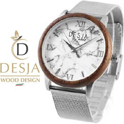 orologio da polso donna in legno maglia milanese
