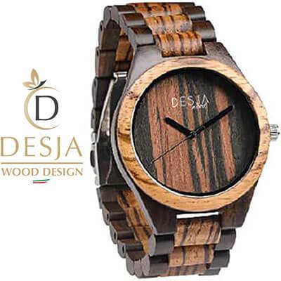 Orologio da polso legno scuro zebrato uomo analogico | Milano