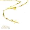Collana rosario sfere e croce argento 925 color oro | Agar