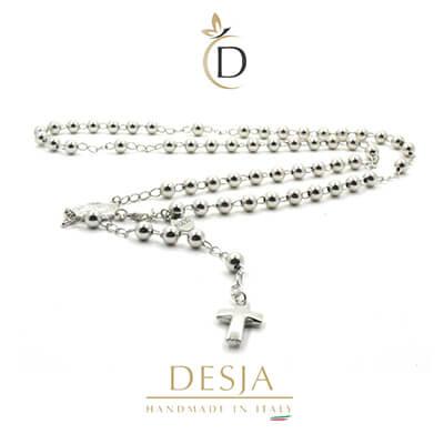 Collana rosario sfere 6mm e croce in argento 925 | Saul